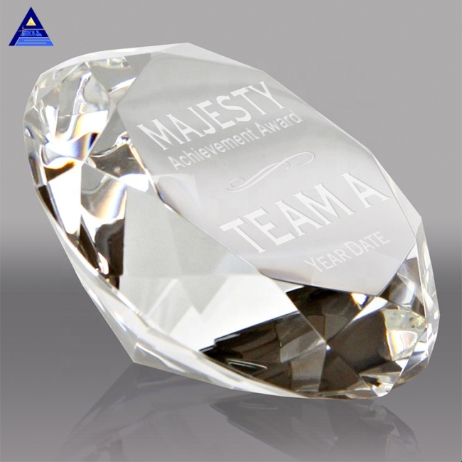 White Engraved Crystal Paperweight