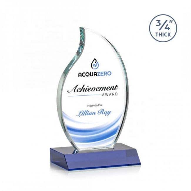 Hot business gift award trophy sandblasting logo beveled k9 crystal flame trophy Engraving Crystal glass Trophy