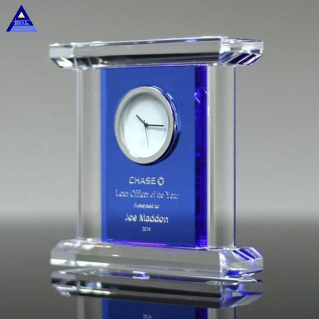 Simple Style Modern Unique Shape Clear Engraved Crystal Clock For Decorative