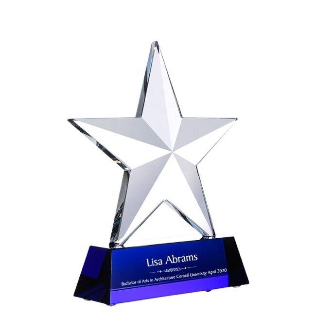 Sublimation Customized Crystal K9 Glass Trophy Award Engraved Star Crystal Award