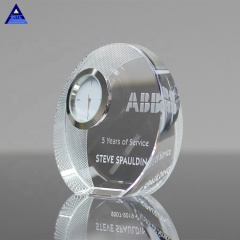 Engrave Crystal Decorative Desk Small Crystal Clock For Business Souvenir Gift