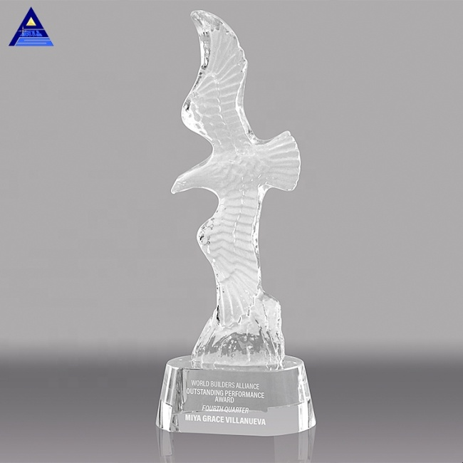 High Quality Beautiful Clear K9 Animals Crystal Eagle Figurine With Black Crystal Base