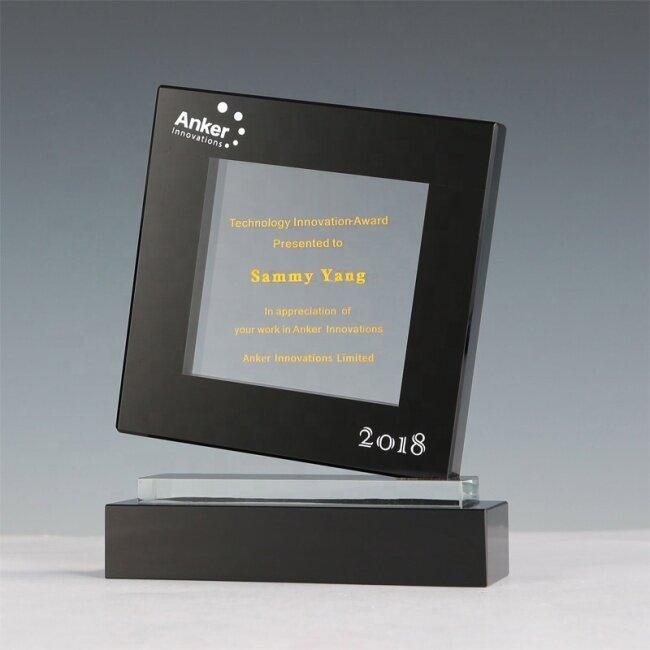 Customized Laser Engraved Crystal Trophy Glass Awards K9 Black Crystal Trophy Awards
