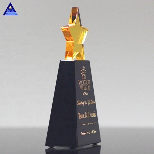 Custom Design K9 Quality Crystal Trophy Star Award For Business Gift