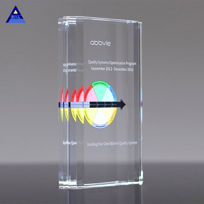Personalized 3D Laser Engraved K5 Glass Award Crystal Trophy With Custom