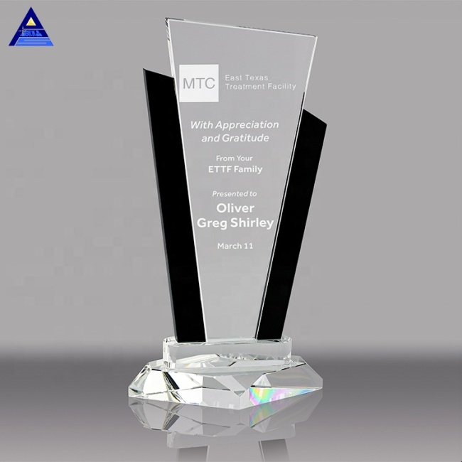 Best Quality Engraving Laser Crystal Glass Awards Trophies With Black Uprights Awards
