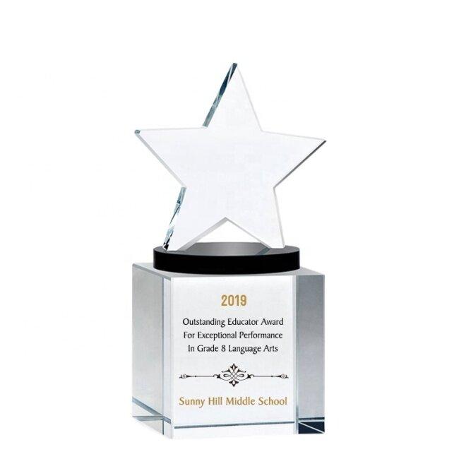 Factory Wholesale K9 Blank Crystal Star Award Trophy Crystal Star Trophy