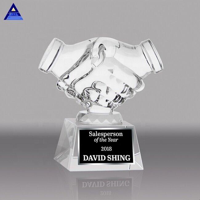 Handshake Trophy Wholesale Engraved Handshake Crystal Award Trophy for Business Gifts