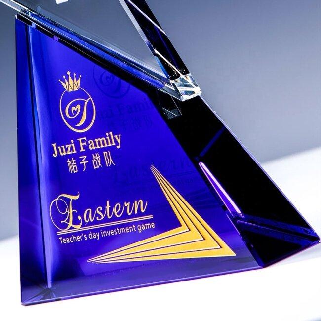 New Design 3D Blank Top Star Diamond   Honor Star Crystal Trophy