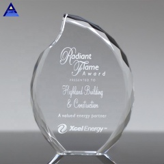 Popular Optical Lambent Flame Shape Crystal Award For Business Honor