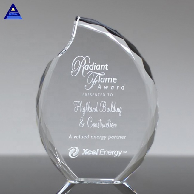 Popular Optical Lambent Flame Shape Crystal Award For Business Honor