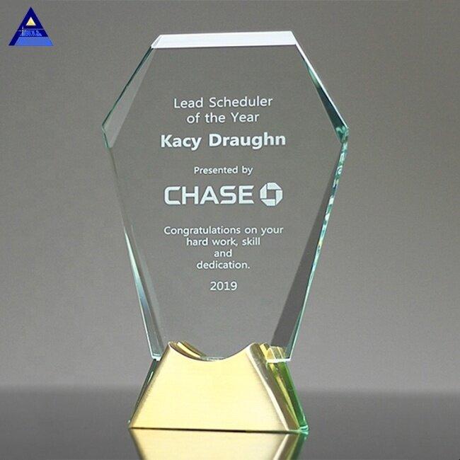 Custom Designed Long Service Gemstone Brass And Elegant K9 Crystal Trophy