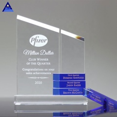 Yiwu Factory Wholesale New Design Blue Crystal Trophy for Customized Engraving