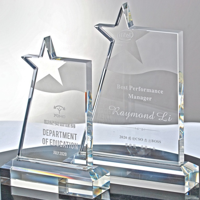 Customized Engraved Star shape crystal award plaque New design crystal trophy awards Glass award medals