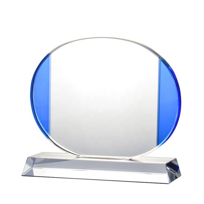 Pujiang Customized Clear Crystal Base Crystal Round Shape Glass Award Plaques For Wedding Souvenir