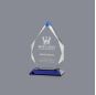 Blue Crystal Different Shape Transparent Round Trophy Award For Home Decor
