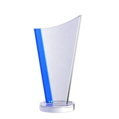 Wholesale High Quality Promotion Crystal Trophy/Cheap Glass Trophy Award/Crystal Trophy With Base For Business Gift