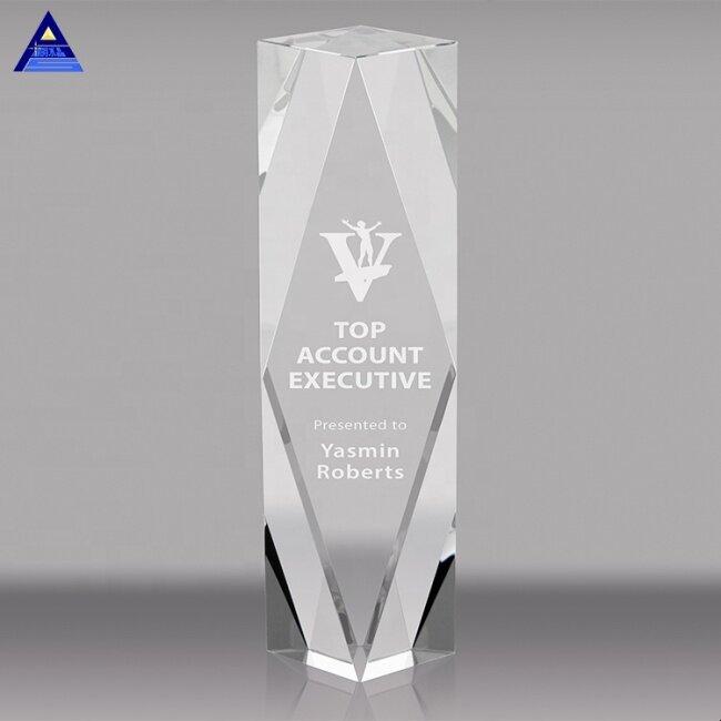 Custom Engraving 3D Laser Engraved Crystal Awards Trophies Block Blank For Business Souvenir Gift