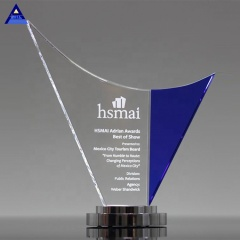 Manufacturing Direct Wholesale Cheap High Quality Custom Awards Crystal Wave Trophy