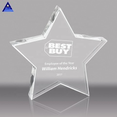 Wholesale crystal glass pentagram custom smiling face five-pointed star crystal glass trophy