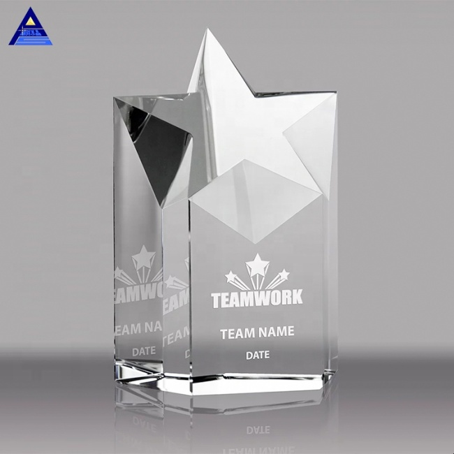 Cheap Optical Custom Logo K9 Star Trophy Crystal Awards Star For Home Decoration