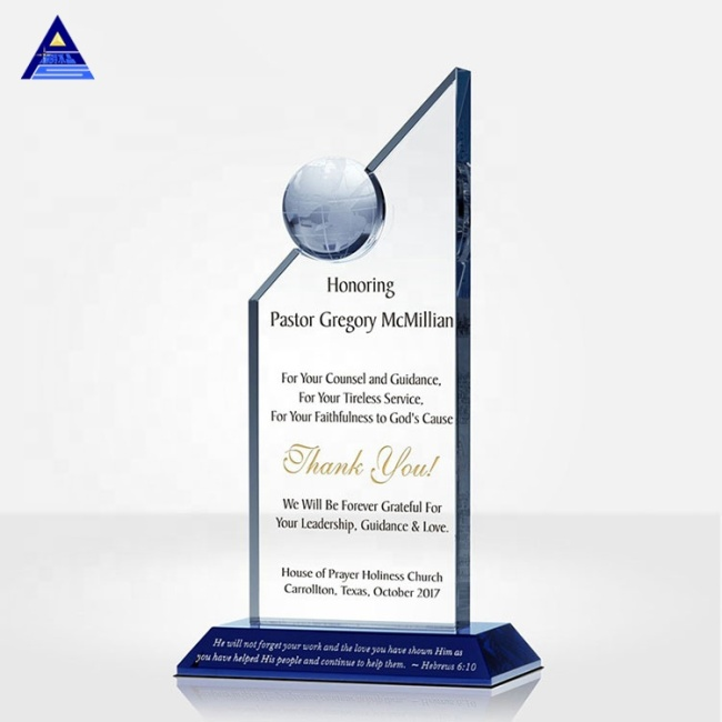 2021 New Design Business Cooperation Award Design clear Crystal Earth Globe Trophy