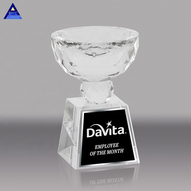 High Quality Customized Size World Cup Crystal Bowl Trophy For Business Award Gifts