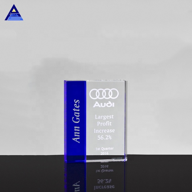 2020 Printing 3D Laser Photo Trophy Blue-Clear 3D Laser Engraved Crystal
