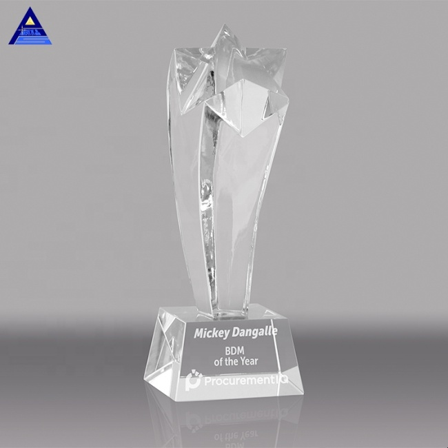 Wholesale Custom Blank Glass Crystal Star Awards Plaque And Trophies For Souvenir Gift