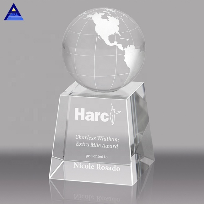 Noble Cheap Custom Atlantis Crystal Glass Earth Globe Trophy Award