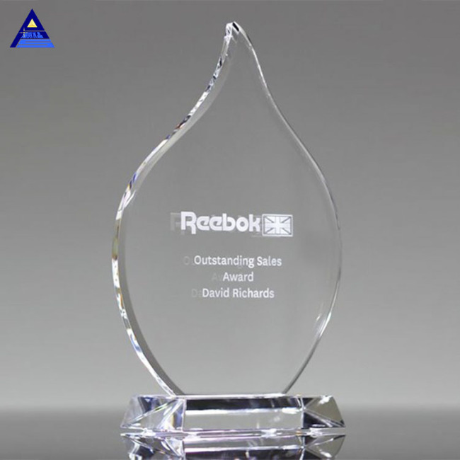 Custom Cheap High Quality Olympia Clear Flame Crystal Award For Event Souvenir