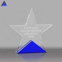 Wholesale K9 Quality Star Crystal Plaques And Awards With Blue Base