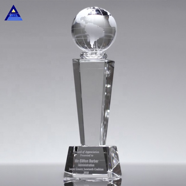2020 Hot New Products K9 Crystal Glass Globe Award Earth For Sale