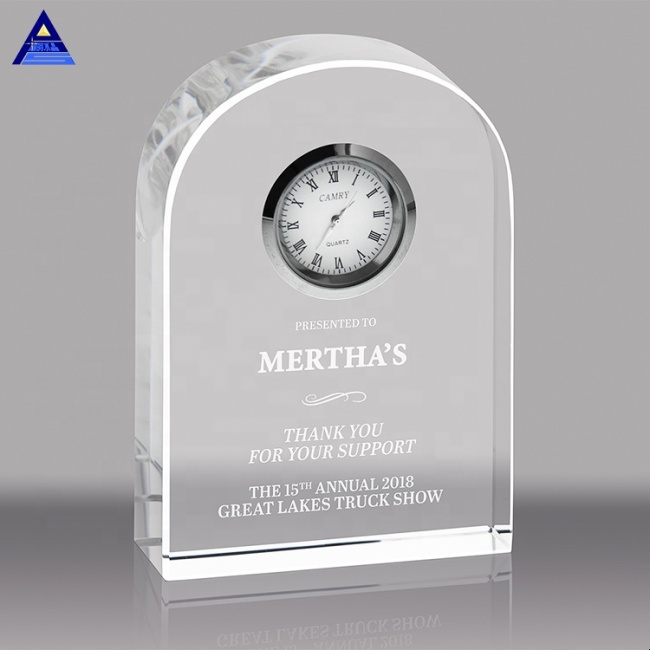 Hand Crafted Personalized Blank Clear Glass Cube K9 Crystal Desk Clock For Souvenir Gift