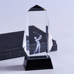 Wholesale 3D Laser Engraved Carved Sport Golf Optical Crystal Awards Trophy With Base