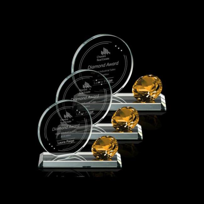 Wholesale blue Semicircle Clock High Quality K9 Shaped Diamond Crystal Award