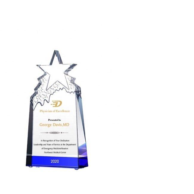 Unique Blank Glass Sell Ice Peak Star Crystal Trophy Award Blank Crystal Cube Glass Block