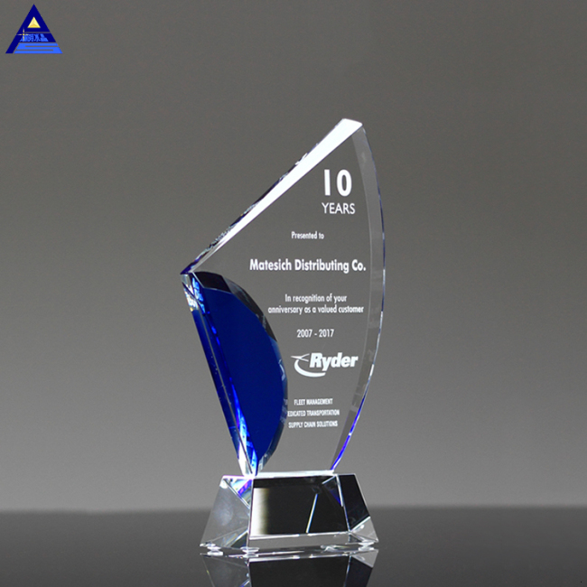Custom Retail Blank Clear Crystal Trophy Award With Logo