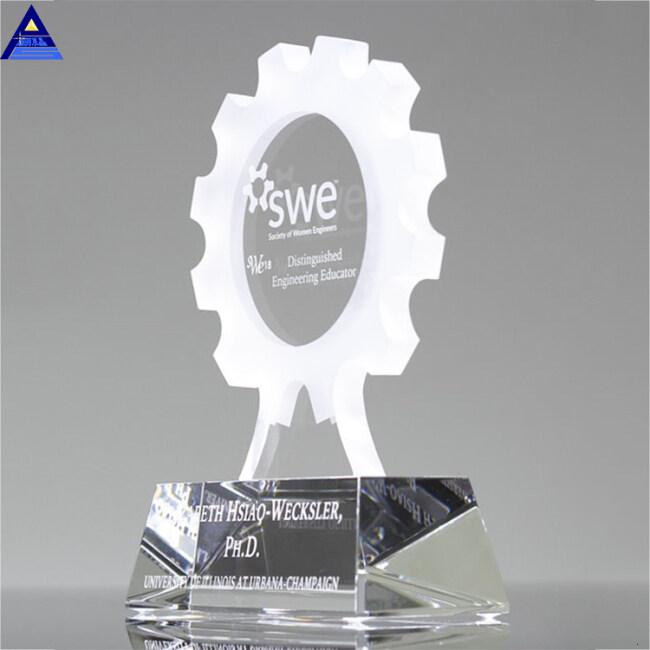 Hight Quality Flower Shape Blank Crystal Trophy Sample Award Shield With Black Base