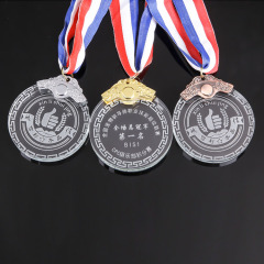 Creative Personality Custom Design Sport Souvenirs Award Gift 2D Round Crystal Medal