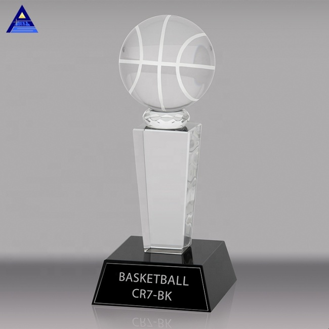 Pujiang Hot Selling Crystal Trophy Award Top Quality Design Sports Basketball Awards