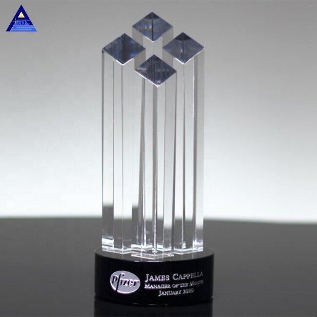 2019 Popular Black Base Towers Crystal Diamond Award for Name Engraving