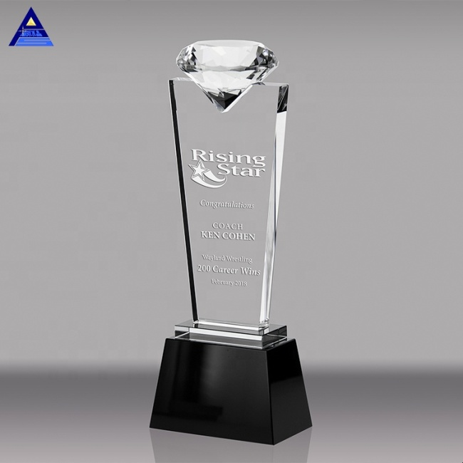 Customized Colorful Diamond Crystal Trophy Glass Grammy Medals Sports Events Awards