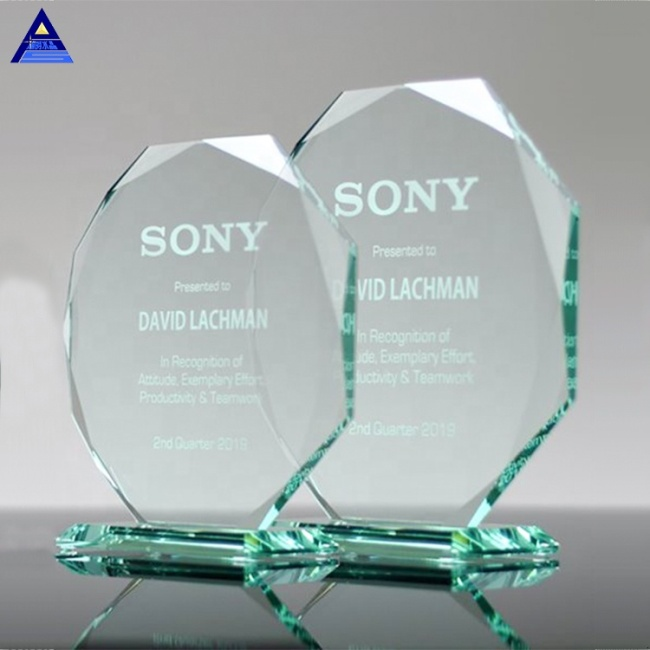 Pujiang Factory Supply Shield Octagon Shape Jade Glass Awards/Wholesale Cheap Glass Trophy Award/Glass Blank Medal