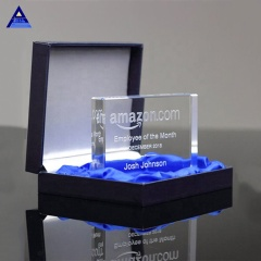 Flat Edge Rectangle Crystal Paperweight,Edge Cut Crystal Award
