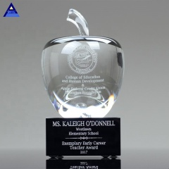 Printing Custom Design Classic Apple Shaped Crystal Award Trophy For Paperweight