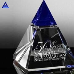 Custom Engraved Blue Majestic Crystal Pyramid Trophy