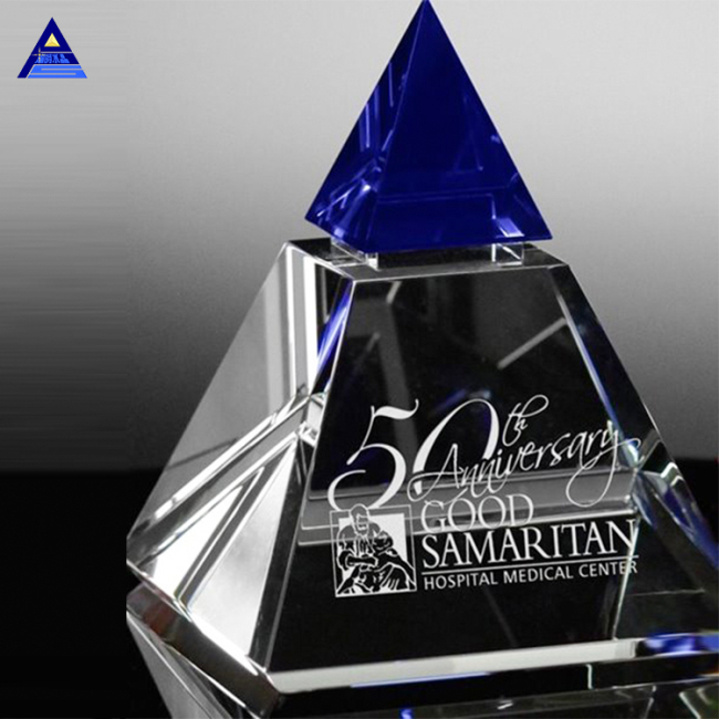 Custom Engraved Blue Majestic Crystal Pyramid Trophy