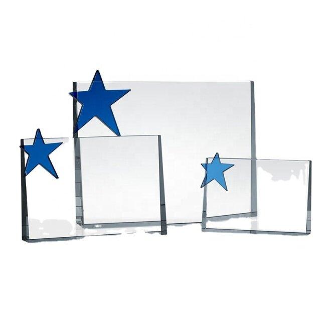 New deign blank star shaped crystal glass plaque award trophy K9 crystal star trophy