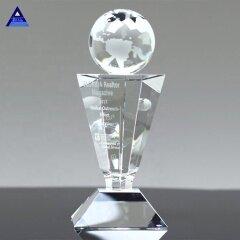 Popular Custom Crystal Globe Trophy With World Map